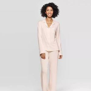 Beautifully Soft Notch Collar Pajama Set Pink XXL